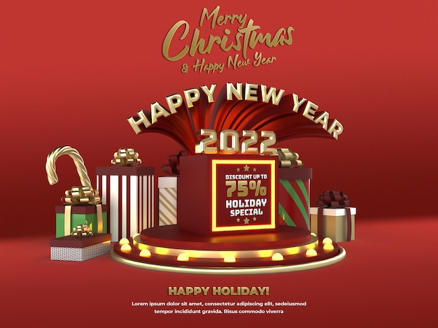 Gelukkig nieuwjaar 2022 en kerstvakantie podiumviering en advertentie sociale media poster