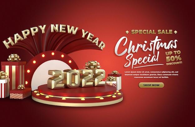 Gelukkig nieuwjaar 2022 en kerstvakantieviering en advertentie op sociale media plaatsen