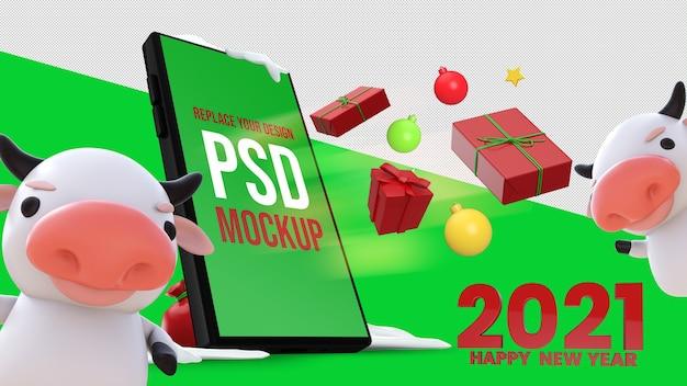 Gelukkig nieuwjaar 3d-rendering mockup design