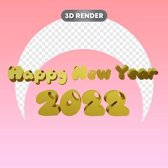 Gelukkig nieuwjaar tekst 3d-object