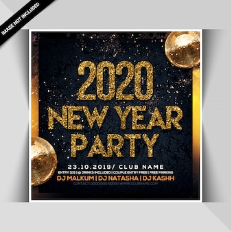 Gelukkig nieuwjaar viering nacht partij flyer