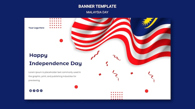 Gelukkig onafhankelijkheidsdag banner websjabloon