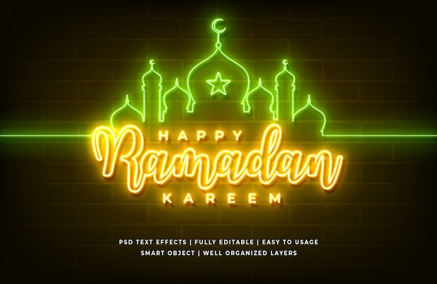 Gelukkig ramadan kareem tekststijleffect