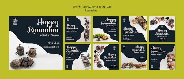Gelukkig ramadan sociale media post sjabloon