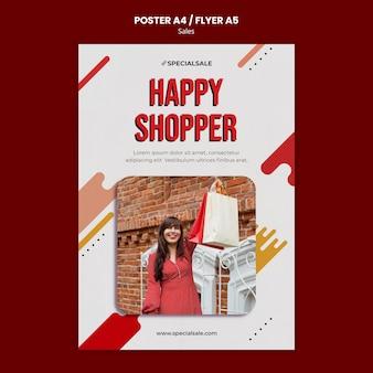 Gelukkig shopper poster sjabloon Gratis Psd