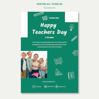 Gelukkig teacher's day flyer-sjabloon