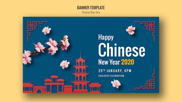 Gelukkige chinese nieuwe jaarbanner met architectuur