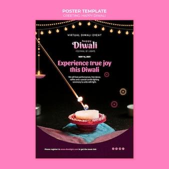 Gelukkige diwali poster sjabloon