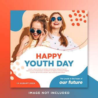 Gelukkige jeugdag sociale media instagram posttemplate