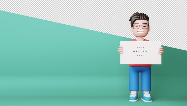 Gelukkige kinderen met een leeg scherm, een leeg bord in 3d-rendering
