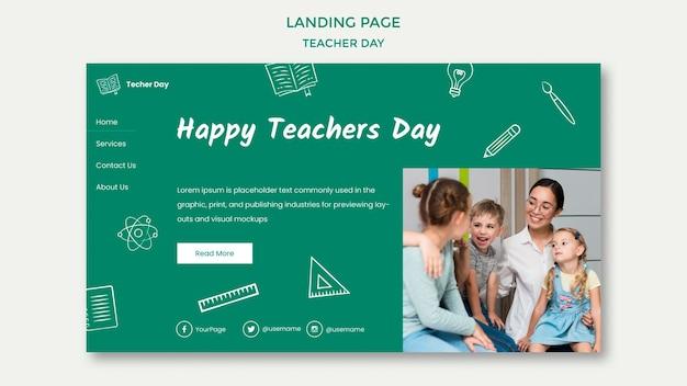 Gelukkige lerarendag met bestemmingspagina voor studenten