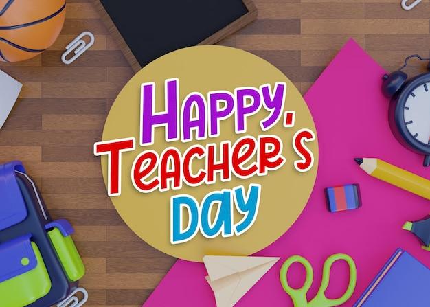 Gelukkige lerarendag-wenskaart met 3d-renderingachtergrond premium psd