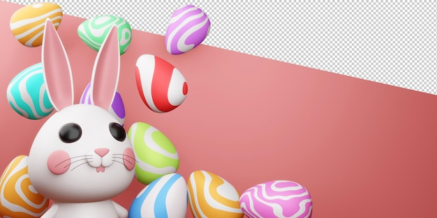 Gelukkige paasdag met leuk konijntje met kleurrijk ei in het 3d teruggeven