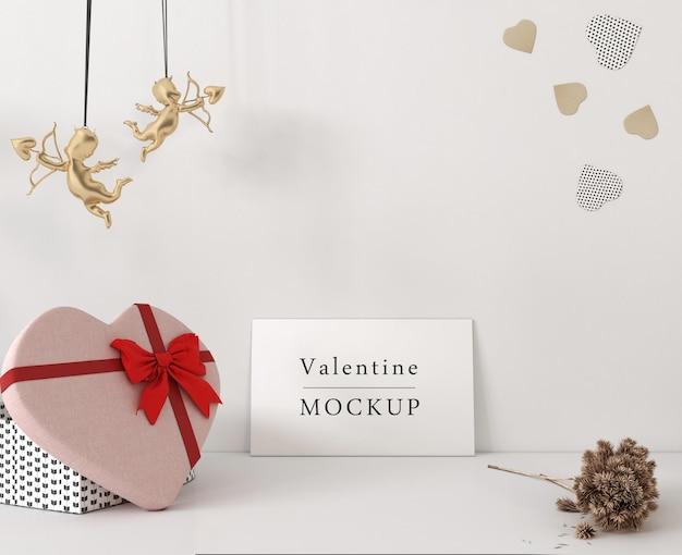 Gelukkige valentijnsdag belettering op witte kaart