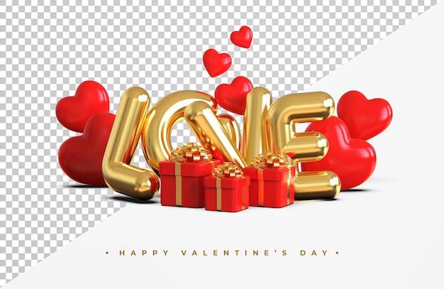 Gelukkige valentijnsdag met 3d-romantische creatieve compositie geïsoleerd