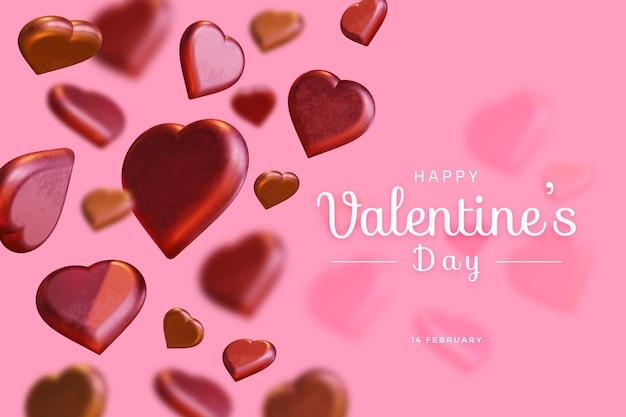 Gelukkige valentijnsdag met liefde 3d-rendering vet mockup