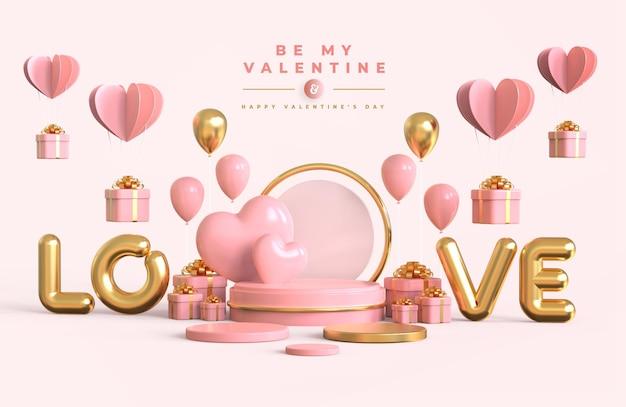 Gelukkige valentijnsdag met podium en 3d-romantische creatieve compositie