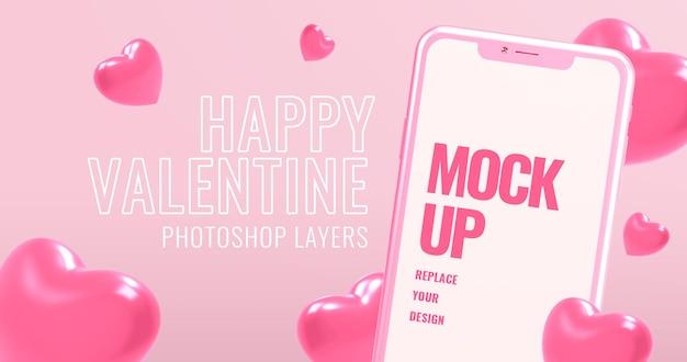 Gelukkige valentijnskaarttekst met smartphonemodel