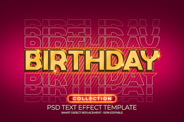 Gelukkige verjaardag 3d gouden teksteffect op maat met rode kleurachtergrond