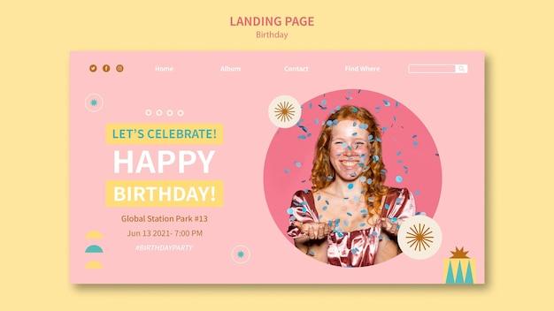 Gelukkige verjaardag-bestemmingspagina-sjabloon