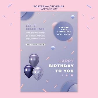 Gelukkige verjaardag flyer sjabloon