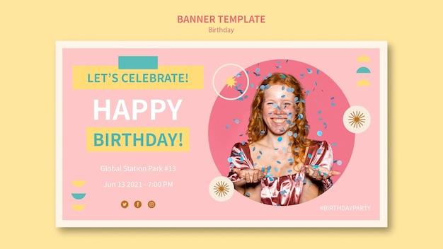 Gelukkige verjaardag horizontale banner