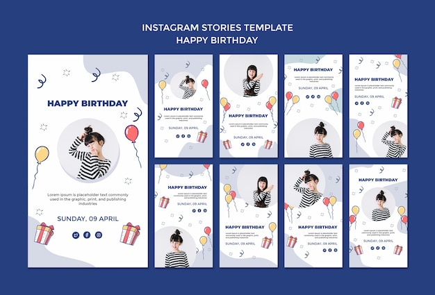 Gelukkige verjaardag instagram verhalen sjabloon