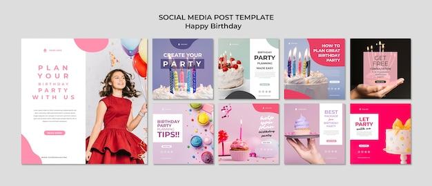 Gelukkige verjaardag jong meisje in jurk sociale media post