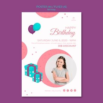Gelukkige verjaardag meisje flyer sjabloon