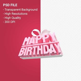 Gelukkige verjaardag met boog en lint 3d-ontwerp geïsoleerd