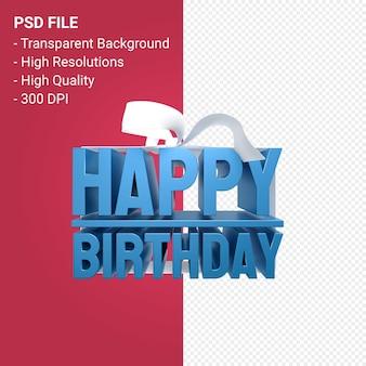Gelukkige verjaardag met boog en lint 3d ontwerp op geïsoleerde background