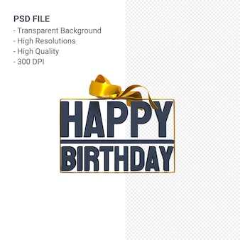 Gelukkige verjaardag met lint en boog 3d-ontwerp geïsoleerd