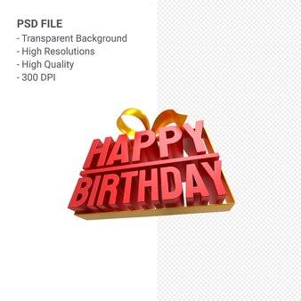 Gelukkige verjaardag met lint en boog 3d-ontwerp