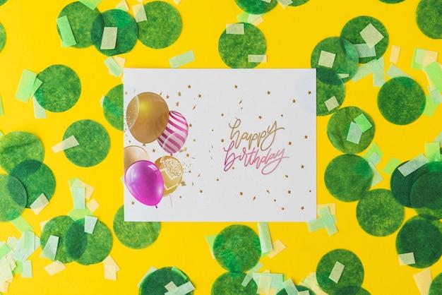 Gelukkige verjaardag papier mock-up