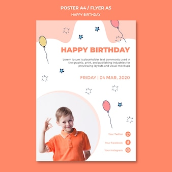 Gelukkige verjaardag poster sjabloon
