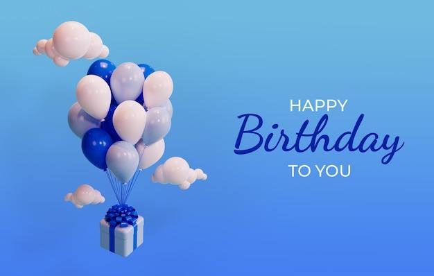 Gelukkige verjaardag viering sjabloon met 3d-weergave van doos en ballonnen