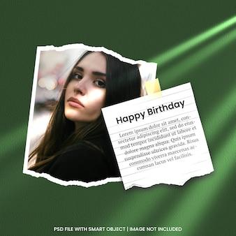 Gelukkige verjaardagskaart fotolijst mockup