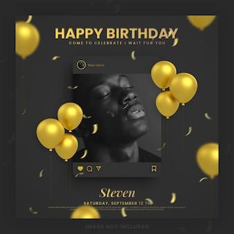 Gelukkige verjaardagsuitnodiging zwarte gouden kaart voor instagram social media postsjabloon met mockup
