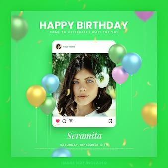 Gelukkige verjaardagsuitnodigingskaart voor groene instagram social media postsjabloon met mockup