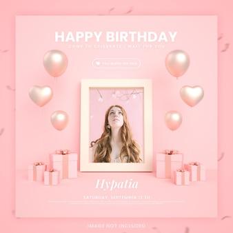 Gelukkige verjaardagsuitnodigingskaart voor instagram social media postsjabloon met mockup