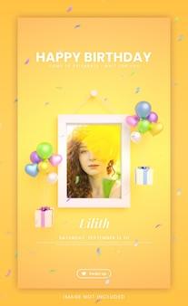 Gelukkige verjaardagsuitnodigingskaart voor kleurrijke instagram sociale media verhaalsjabloon met mockup en