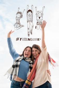 Gelukkige vrienden die vriendschapsdag vieren