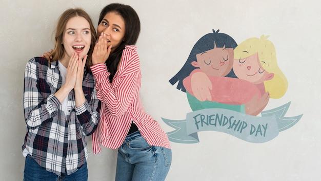 Gelukkige vriendschap dag. jonge vrouwen beste vrienden vieren vriendschapsdag
