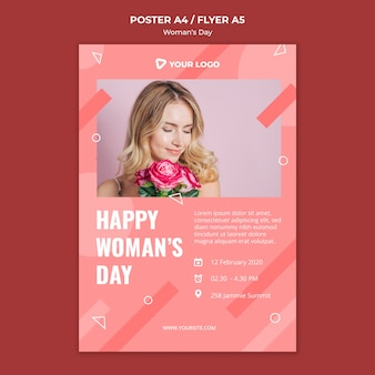 Gelukkige vrouw dag poster sjabloon met vrouw met boeket rozen