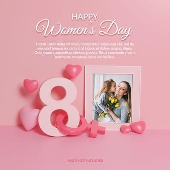 Gelukkige vrouwendag 3d render fotolijstmodel