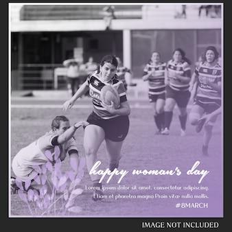 Gelukkige vrouwendag en 8 maart groet instagram postmalplaatje