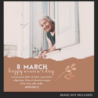 Gelukkige vrouwendag en 8 maart groet instagram postsjabloon