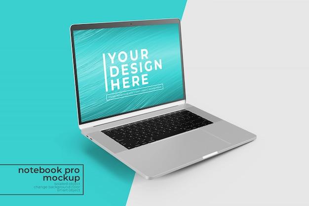 Gemakkelijk te bewerken 15-inch laptop pro psd mockups design in rechts gekantelde positie in linkeraanzicht