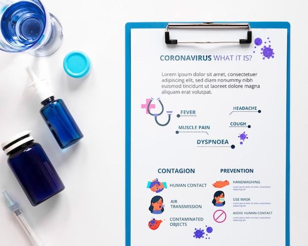 Geneeskunde en klembord op tablet