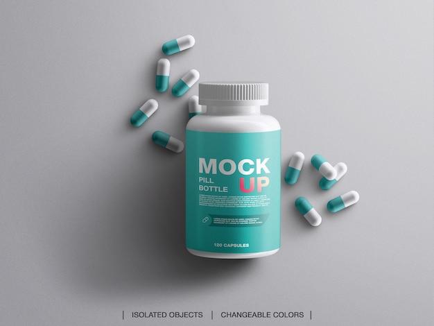 Geneeskunde gezondheid branding vitamines pil plastic fles mockup met capsules geïsoleerd